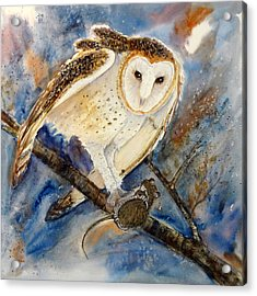 Moonlight Feast - Barn Owl Acrylic Print