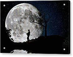 Moonlight Fishing Under The Supermoon At Night Acrylic Print