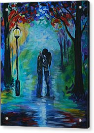 Acrylic Print featuring the painting Moonlight Kiss by Leslie Allen