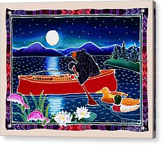 Moonlight On A Red Canoe Acrylic Print