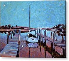 Moonlight On The Bay Acrylic Print by David Lloyd Glover