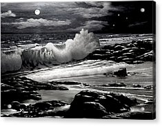 Moonlight On The Beach 2 Acrylic Print by Ron Chambers