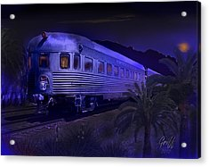 Moonlight On The Sante Fe Chief Acrylic Print by J Griff Griffin