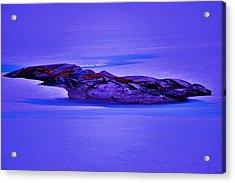 Moonlight On Tundra Ice Acrylic Print by Helen Carson