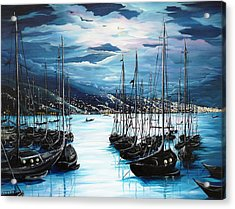 Moonlight Over Port Of Spain Acrylic Print by Karin  Dawn Kelshall- Best