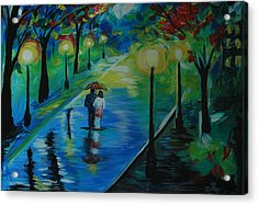 Acrylic Print featuring the painting Moonlight Stroll by Leslie Allen