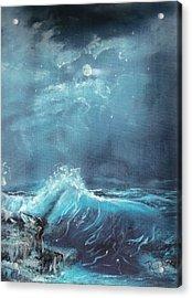 Moonlight Surf Acrylic Print by Raymond Doward