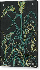 Acrylic Print featuring the mixed media Moonlight Wheat by Vicki  Housel