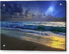 Moonlit Beach Seascape Treasure Coast Florida C4 Acrylic Print