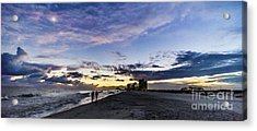 Moonlit Beach Sunset Seascape 0272c Acrylic Print