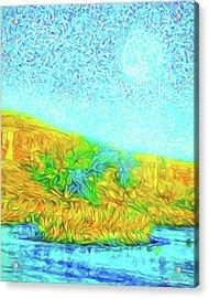 Acrylic Print featuring the digital art Moonlit Island Blue - Boulder County Colorado by Joel Bruce Wallach