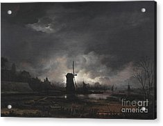 Moonlit Landscape With A Windmill Acrylic Print