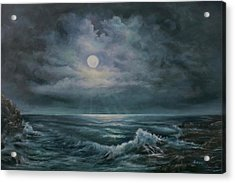 Acrylic Print featuring the painting Moonlit Seascape by Katalin Luczay