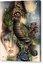 Acrylic Print featuring the drawing Moonlit Manor  by Sheena Pike