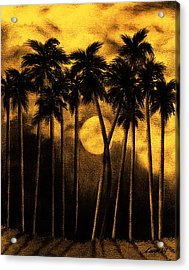 Moonlit Palm Trees In Yellow Acrylic Print by Larry Lehman