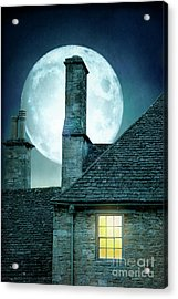 Moonlit Rooftops And Window Light  Acrylic Print by Lee Avison