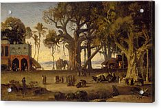 Moonlit Scene Of Indian Figures And Elephants Among Banyan Trees Acrylic Print