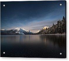 Moonlit Snowshoe // Lake Mcdonald, Glacier National Park Acrylic Print by Nicholas Parker