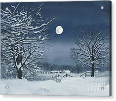 Moonlit Snowy Scene On The Farm Acrylic Print
