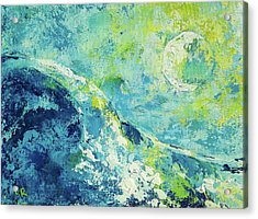 Acrylic Print featuring the painting Moonlit Surf by Chris Rice