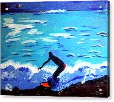 Moonlit Surf Acrylic Print