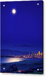 Moonlit Vancouver Acrylic Print by Paul Kloschinsky