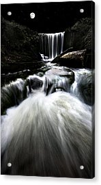 Moonlit Waterfall Acrylic Print by Meirion Matthias