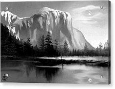 Moonlit Yosemite Lake Acrylic Print