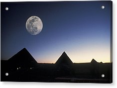 Moonrise Above Giza Pyramids In Egypt Acrylic Print by Richard Nowitz