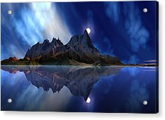 Moonrise Accension Island. Acrylic Print by David Jackson