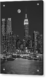 Moonrise Along The Empire State Building Bw  Acrylic Print by Susan Candelario