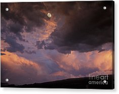 Moonrise And Sunset Acrylic Print by Sandra Bronstein