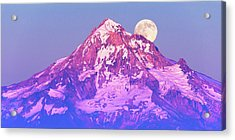 Moonrise Behind Mt. Hood Acrylic Print