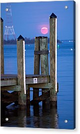 Acrylic Print featuring the photograph Moonrise Dock by Jennifer Casey