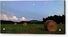 Moonrise Hayfield Acrylic Print by Jerry LoFaro
