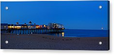 Moonrise In Old Orchard Beach Acrylic Print by David Bishop