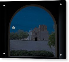Moonrise On Tumacacori Mission Acrylic Print by Sandra Bronstein