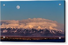 Moonrise Over Mount Blanca Winter San Luis Valley Colorado Acrylic Print
