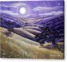Moonrise Over Monte Bello Acrylic Print by Laura Iverson