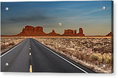 Acrylic Print featuring the photograph Moonrise Over Monument Valley by Lou Novick