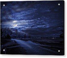 Moonrise Over Pymatuning Lake Acrylic Print
