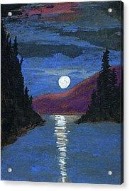 Moonrise Over Strait Acrylic Print