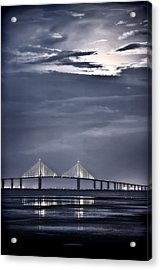 Moonrise Over Sunshine Skyway Bridge Acrylic Print by Steven Sparks