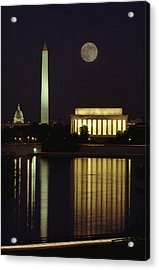 Moonrise Over The Lincoln Memorial Acrylic Print