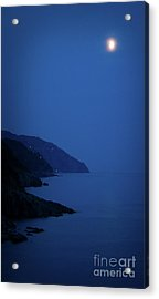 Moonrise Over Vernazza Acrylic Print by Doug Sturgess