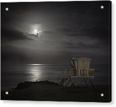 Moonset At Carlsbad Acrylic Print