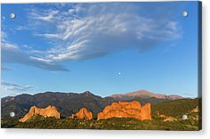 Moonset At Dawn Over Garden Of The Gods Acrylic Print