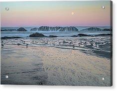 Moonset At Seal Rock Acrylic Print