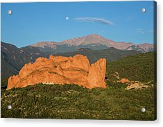 Moonset Over The Kissing Camels And Pikes Peak, Garden Of The Go Acrylic Print