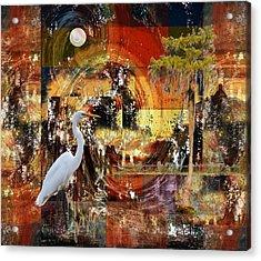 Moonshine Egret On Abstract Acrylic Print